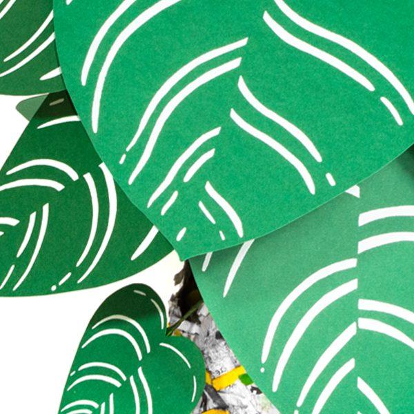 jungla plantas de papel regalo pinstripe detalle