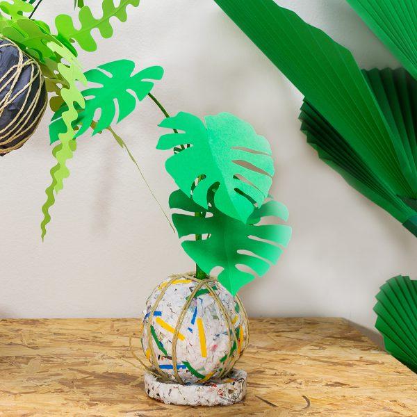 jungla, plantas de papel kokedama monstera1