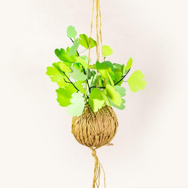 jungla, plantas de papel. kokedama helecho2