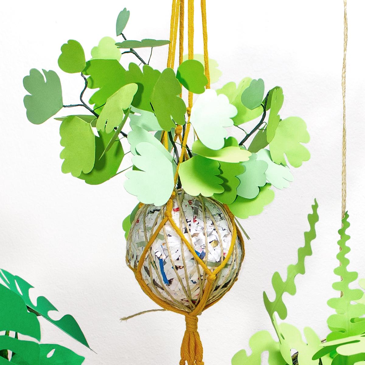 jungla, plantas de papel. kokedama helecho1