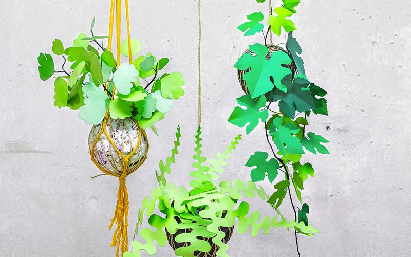 jungla, plantas de papel. coleccion de kokedamas