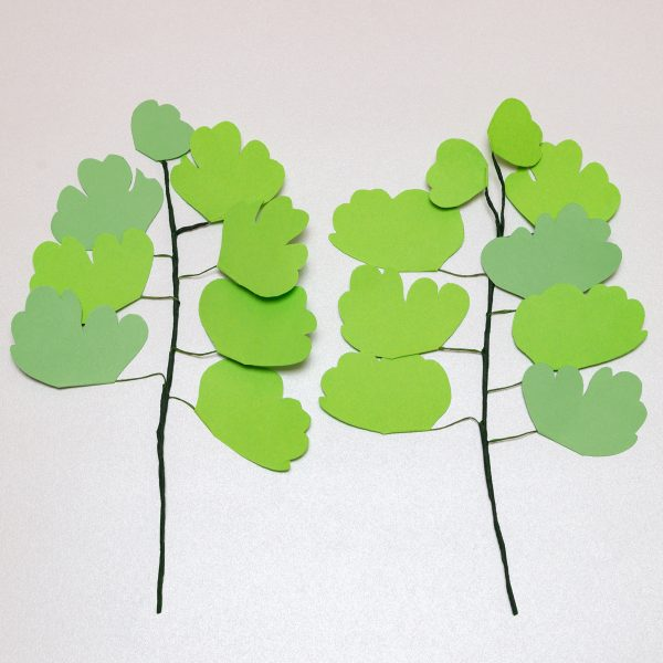 Ramas de maidenhair fern hechas en papel