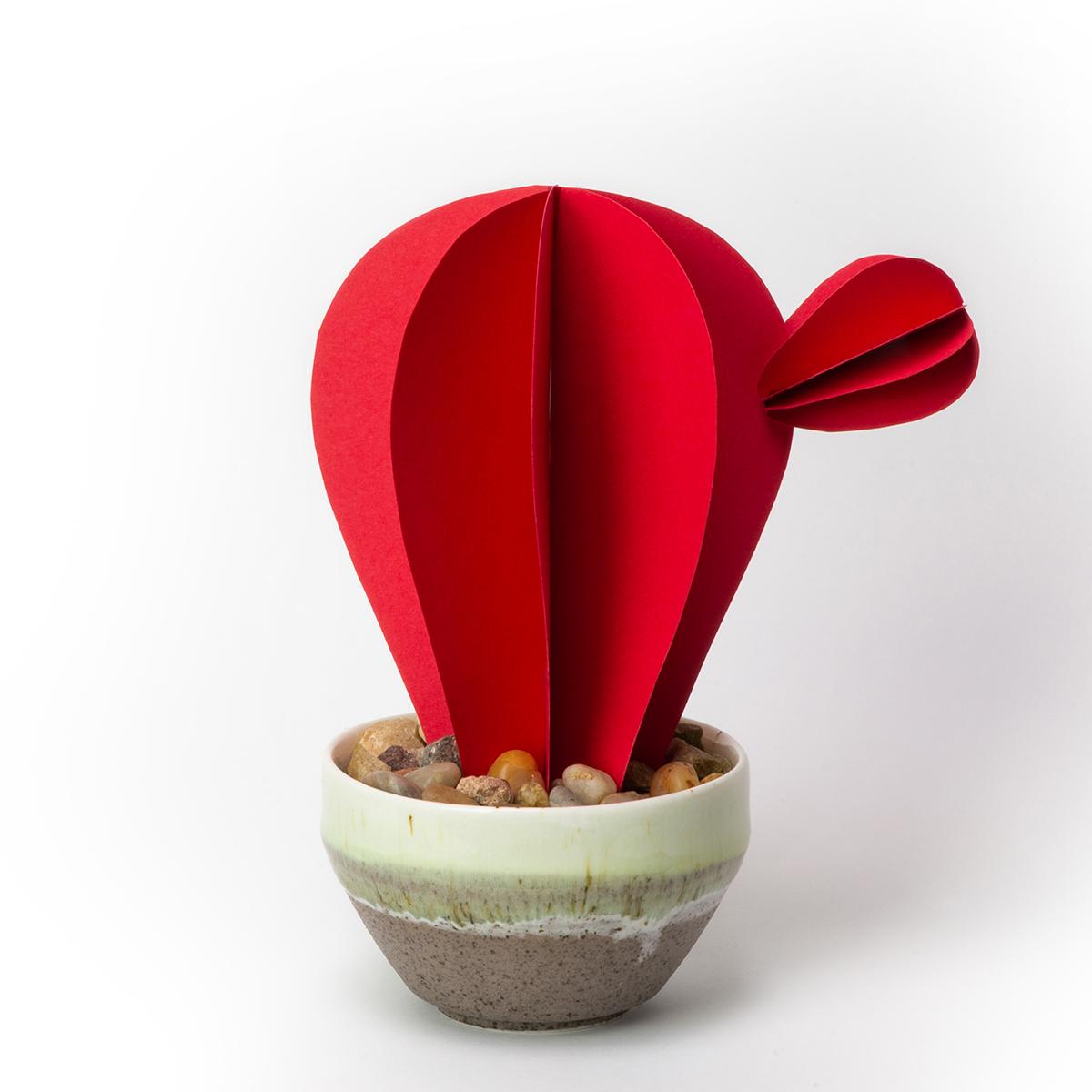 jungla, plantas de papel cactus rojo liso