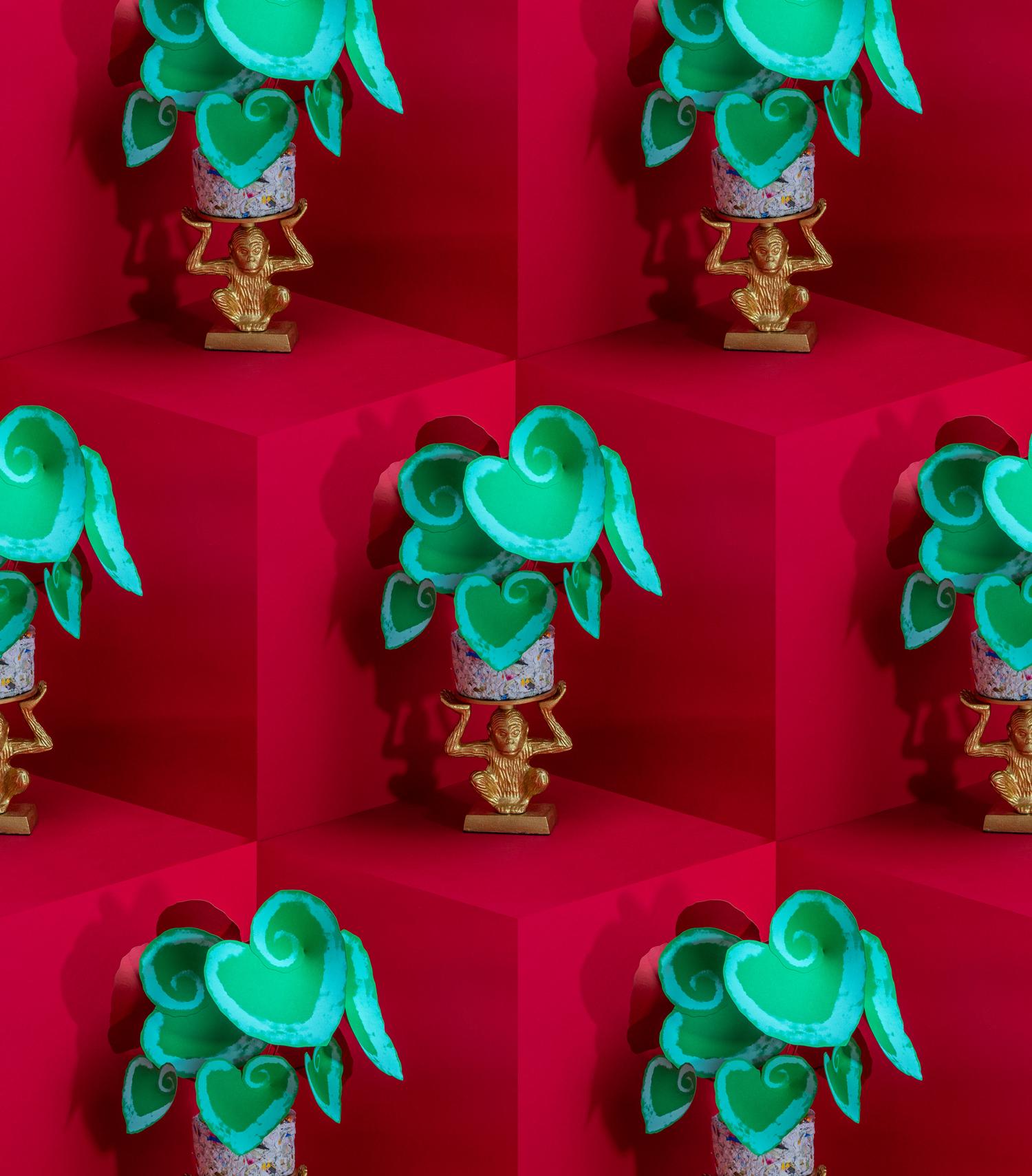 jungla, plantas de papel. escargot mosaico